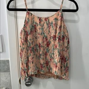 Pleated floral tank top